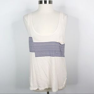 Madewell Chest Striped Cotton Flax Tank Top Large